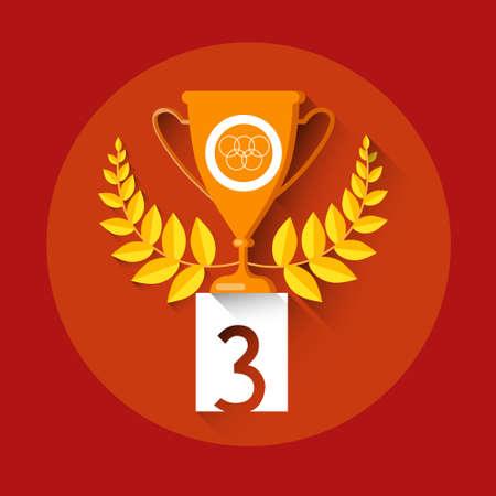 Bronze Cup Achievement Sport Icon Flat Vector Illustration