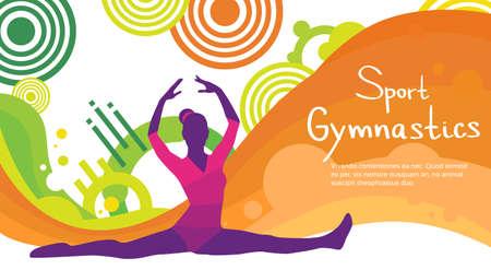 Artistic Gymnastics Athlete Twine Sport Game Competition Flat Vector Illustration