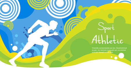 sprint: Runner Athlete Sprint Sport Game Competition Flat Vector Illustration