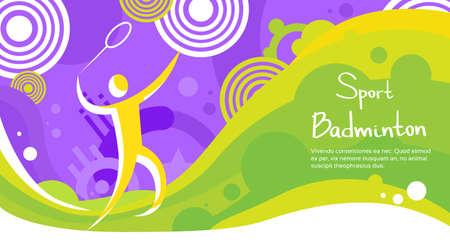 badminton racket: Badminton Player Athlete Sport Game Competition Flat Vector Illustration Illustration