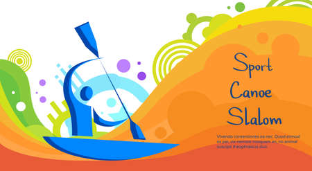 slalom: Canoe Slalom Athlete Sport Game Competition Flat Vector Illustration