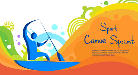 sprint: Canoe Sprint Athlete Sport Competition Colorful Banner Flat Vector Illustration