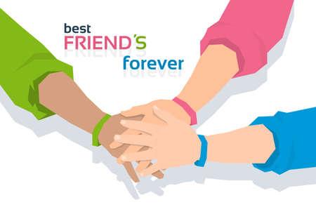 best friends forever: Pile Hand Stack On Each Other Holding Together Best Friends Forever Friendship Day Banner Flat Vector Illustration