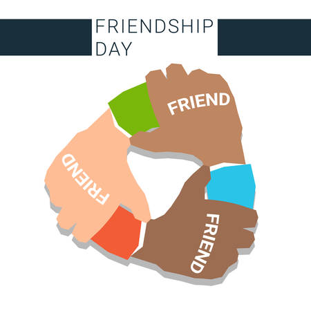 best leadership: Pile Hand Stack On Each Other Holding Together Best Friends Forever Friendship Day Banner Flat Vector Illustration