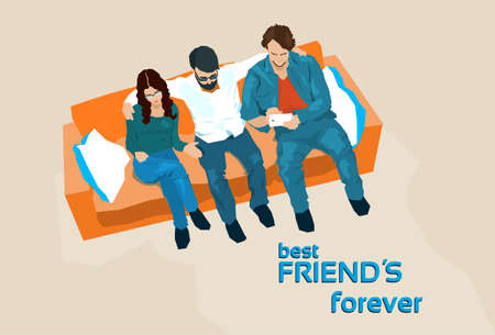 top angle view: Friends Group Sit On Sofa Top Angle View Vector Illustration