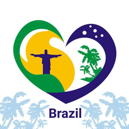 arbres silhouette: Brésil Coeur de Jésus Statue Illustration Vecteur