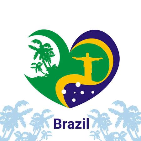 jesus statue: Brazil Heart Shape Jesus Statue Vector Illustration