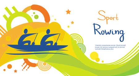 Aviron Athlète Compétition Sport Colorful Bannière Flat Vector Illustration