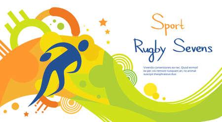 Rugby-Spieler Spiel Athlet Sport-Spiel-Wettbewerb Wohnung Vector Illustration Vektorgrafik