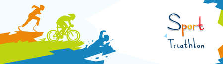 Disabled Athletes Triathlon Marathon Sport Game Competition Flat Vector Illustration