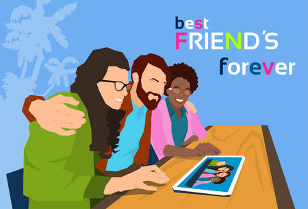 friends together: Friends Group Looking At Photo On Tablet Computer Flat Vector Illustration