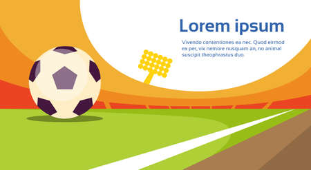 judge players: Football Ball At Field Stadium Banner With Copy Space Flat Vector Illustration Illustration