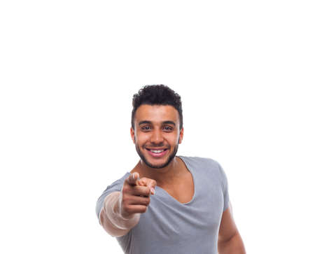 the chosen one: Casual Man Point Finger At You Happy Smile Young Handsome Guy Wear Shirt Isolated White Background