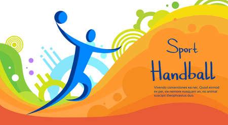 Handball Player Sport Competition Colorful Banner Flat Vector Illustration Illustration
