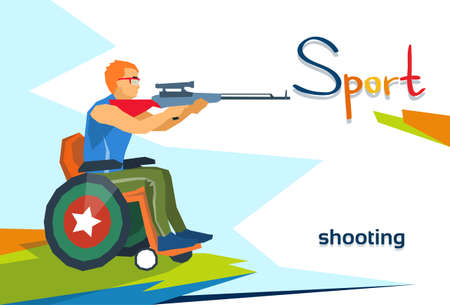 sniper training: Disabled Athlete On Wheelchair Shooting Sport Competition Flat Vector Illustration