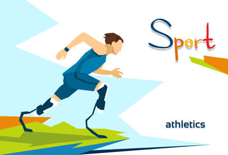 Disabled Runner Sport Competition Flat Vector Illustration 向量圖像