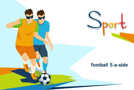 Disabled Blind Football Players Sport Competition Flat Vector Illustration Çizim