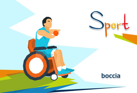 Disabled Bowling Player On Wheelchair Sport Competition Flat Vector Illustration