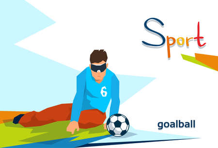 Disabled Athlete Play Goal Ball Sport Competition Flat Vector Illustration