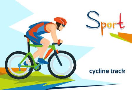 Disabled Athlete Cycling Track Sport Competition Flat Vector Illustration Ilustração