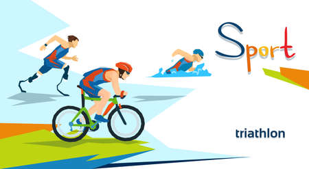 Disabled Athletes Triathlon Marathon Sport Competition Flat Vector Illustration 向量圖像