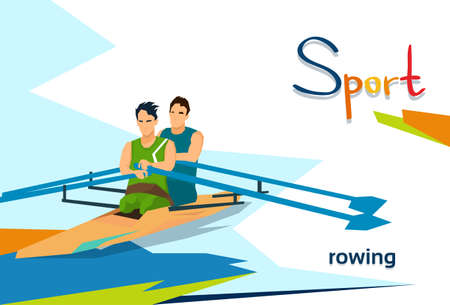 Disabled Athletes Rowing Sport Competition Flat Vector Illustration