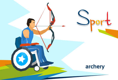 Disabled Athlete On Wheelchair Archery Sport Competition Flat Vector Illustration Imagens - 59655595