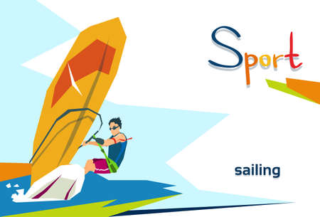 Disabled Athlete Sailing Sport Competition Flat Vector Illustration