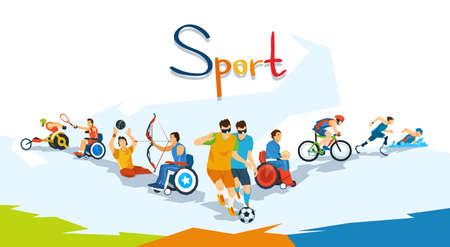 Los atletas con discapacidad Ilustración deporte Competencia Banner plana vectorial Foto de archivo - 59655596