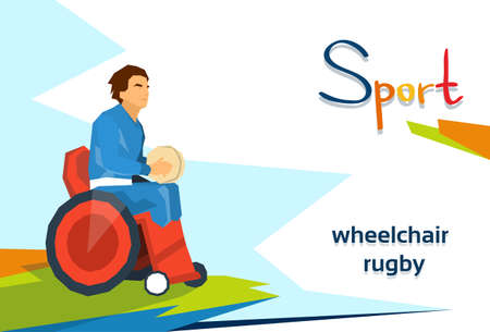 Disabled Athlete Play Rugby On Wheelchair Sport Competition Flat Vector Illustration