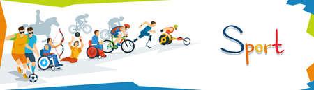 Gehandicapte Atleten Sport Wedstrijd Banner Flat Vector Illustratie Stock Illustratie