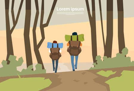 Randonneurs couple de voyageurs avec un fond Vue Rucksack arrière Nature Vector Illustration
