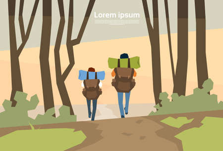wanderer: Traveler Couple Hikers With Rucksack Rear View Nature Background Vector Illustration