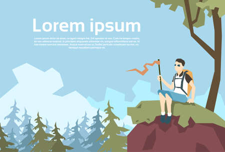 wanderer: Traveler Sit On Hill Hiker With Rucksack Nature Mountain Background Vector Illustration Illustration