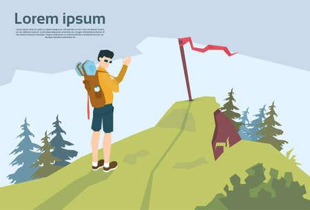 traveler: Traveler On Hill Hiker With Rucksack Mountain Background Vector Illustration
