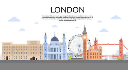 city view: London English City View Copy Space Flat Vector Illustration