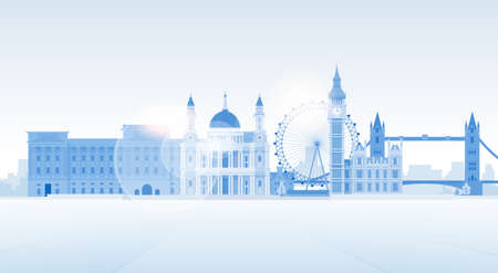 city view: London Silhouette English City View Copy Space Flat Vector Illustration