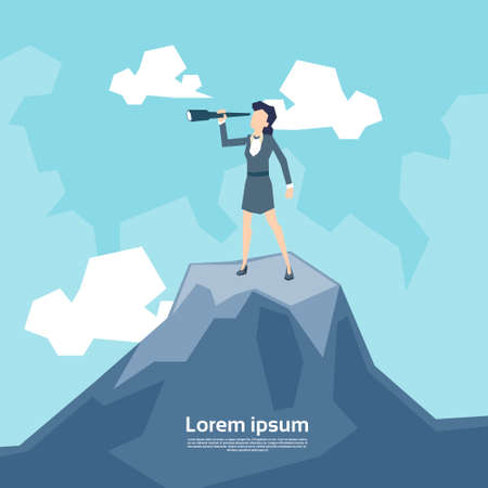 top of mountain: Business Woman Looking Through Telescope Standing on Top Mountain Flat Vector Illustration