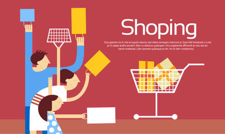 family shopping: Family Shopping Bags Trolley Sale Discount Vector Illustration