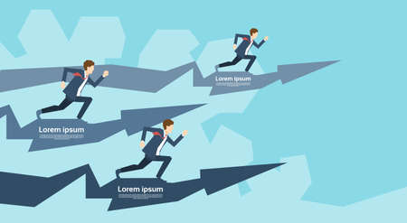 business competition: Business People Group Run Team Leader On Arrow Competition Concept Flat Vector Illustration