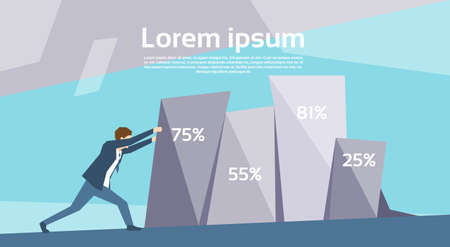 Business Man Push Financiële Grafiek Growing Up Succes Groei Concept Flat Vector Illustration