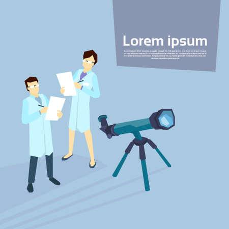 scientist woman: Scientist Woman Man Telescope Laboratory Flat Vector Illustration Illustration