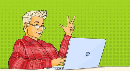 users video: Man Video Blog Stream Laptop Computer Pop Art Colorful Vector Illustration