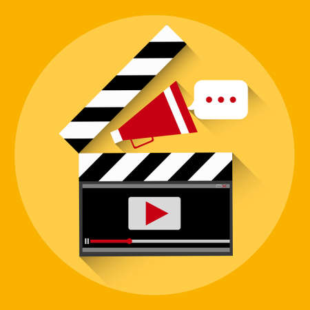 streaming: Clapper Video Player Online Streaming Concept Flat Vector Illustration
