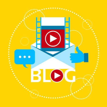 blogging: Modern Video Blog Banner Blogging Concept Flat Vector Illustration Illustration