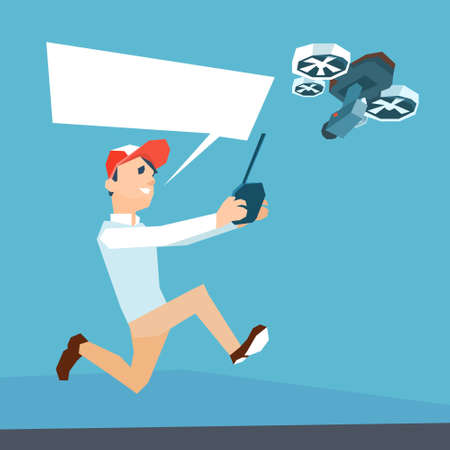 man in air: Man Hold Remote Control Drone Flying Air Quadrocopter Flat Vector Illustration
