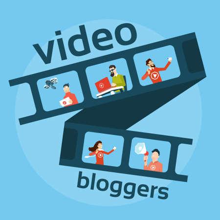 Filmstrip People , Video Blog Concept Vector Illustration