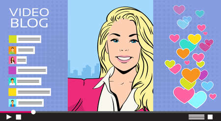 smart girl: Girl Video Streaming Live View, Woman Online Blog Smart Phone Self Stream Service Vector Illustration