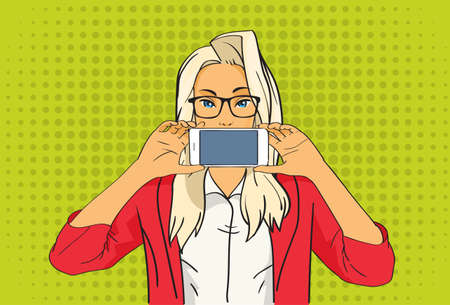 smart girl: Pretty Blonde Girl Hold Cell Smart Phone Pop Art Colorful Retro Style Vector Illustration