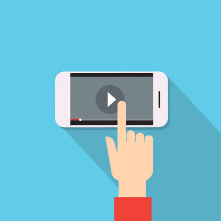 hand touch: Video Player Hand Touch Screen Play Button Cell Smart Phone Flat Vector Illustration